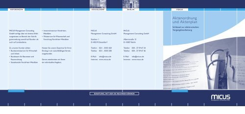 Aktenordnung und Aktenplan - MICUS Management Consulting GmbH