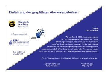 Einführung der gesplitteten Abwassergebühren - Adelberg