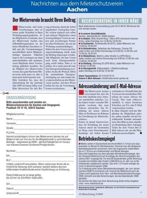Adressenänderung und E-Mail-Adresse Betriebskostenspiegel Der ...