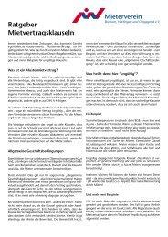 Ratgeber Mietvertragsklauseln - Mieterverein