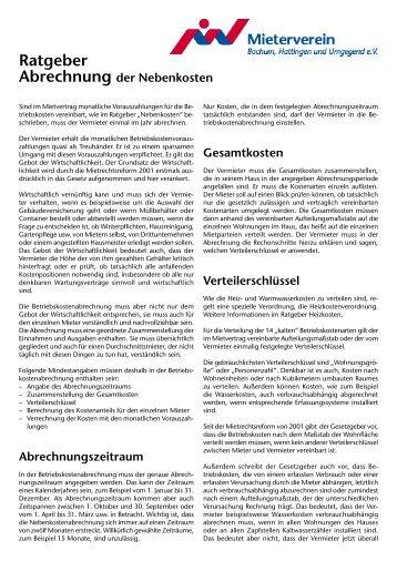 Abrechnung der Nebenkosten - Mieterverein