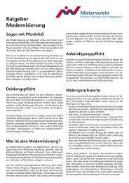 Ratgeber Modernisierung - Mieterverein Bochum