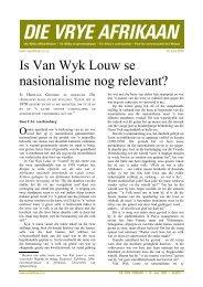 nasionalisme nog relevant? - Welkom by die FAK