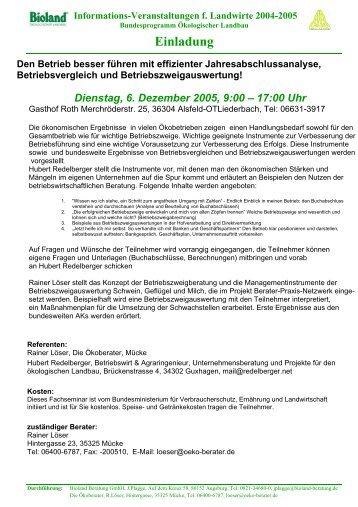 Informations-Veranstaltungen f. Landwirte 2004-2005