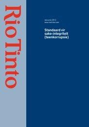 Standaard vir sake-integriteit (teenkorrupsie) - Rio Tinto