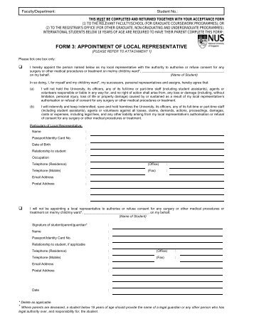 FORM 3: APPOINTMENT OF LOCAL REPRESENTATIVE