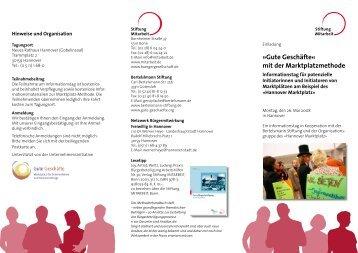 Gute Geschäfte« mit der Marktplatzmethode - Stiftung Mitarbeit