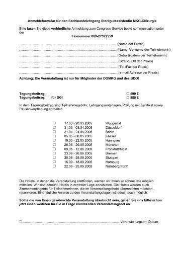 Anmeldeformular für den Sachkundelehrgang Sterilgutassistentin