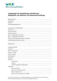 Fragebogen für Angehörige und Betreuer Biographie von Männern ...