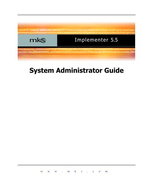 MKS Implementer 5 5 System Administrator Guide