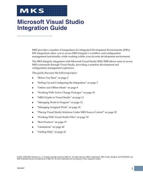 Download Microsoft Visual Studio Integration Guide PDF - MKS