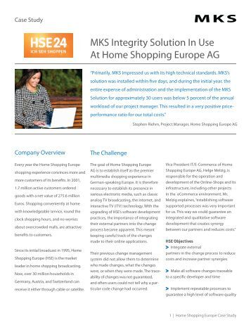 MKS Integrity Solution In Use At Home Shopping Europe AG