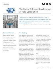 Worldwide Software Development at Hella Corporation - MKS