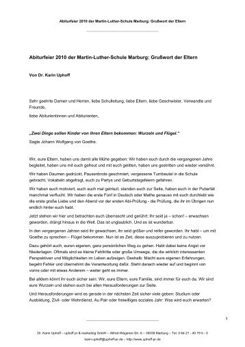 Abitur-Rede_2010_Dr-Uphoff - Martin-Luther-Schule Marburg