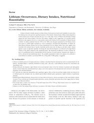 Lithium: Occurrence, Dietary Intakes, Nutritional Essentiality