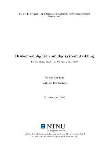 Brukervennlighet i smidig systemutvikling - Brukerinvolvering i ...