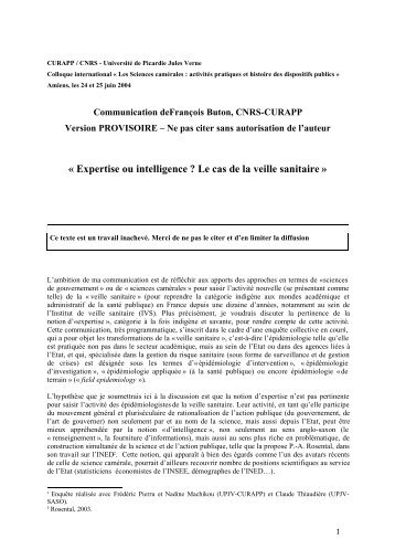 François Buton - Université de Picardie Jules Verne