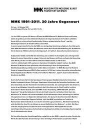20 JahrePressetext - Museum für Moderne Kunst