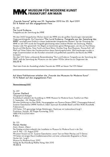 Publikationsliste Freunde 11_2010 Kopie - Museum für Moderne ...