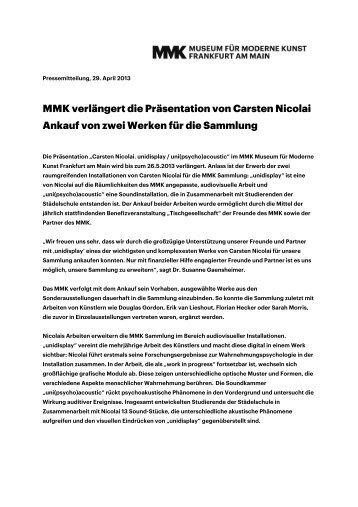 MMK verlängert die Präsentation von Carsten Nicolai Ankauf von ...