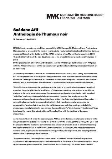 Saâdane Afif Anthologie de l'humour noir - Museum für Moderne Kunst