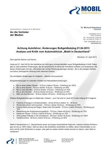 Änderungen Bußgeldkatalog 01.04.2013 - Mobil in Deutschland e.V.