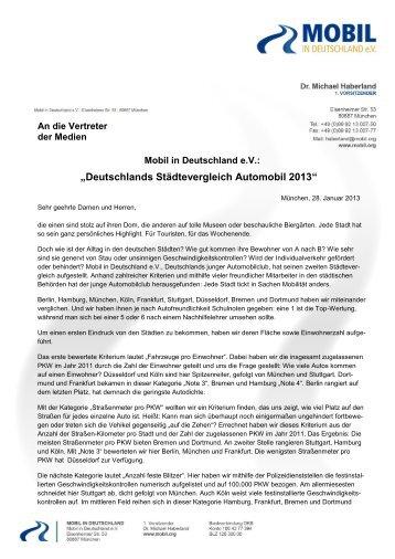 """""""Deutschlands Städtevergleich Automobil 2013"""" - Mobil in ..."""