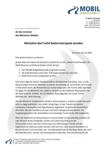 München darf nicht Radarmetropole werden - Mobil in Deutschland ...