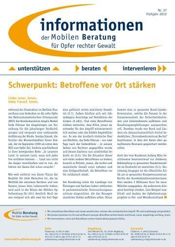 informationen Nr. 37 / Frühjahr 2012 - Mobile Beratung für Opfer ...