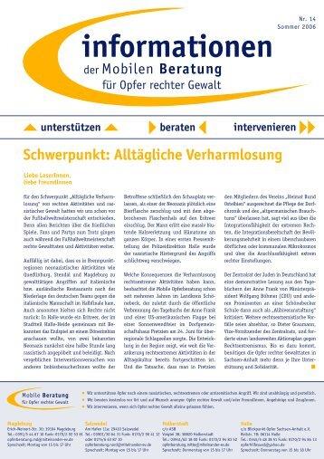 informationen Nr. 14 / Sommer 2006 - Mobile Beratung für Opfer ...