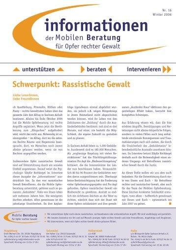 informationen Nr. 16 / Winter 2006 - Mobile Beratung für Opfer ...