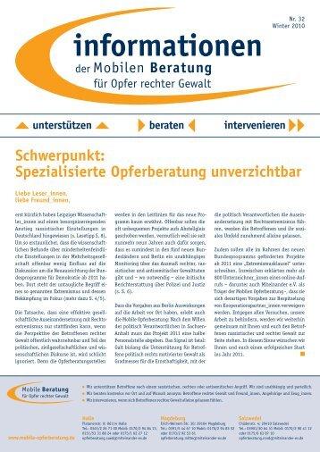 informationen Nr. 32 / Winter 2010 - Mobile Beratung für Opfer ...