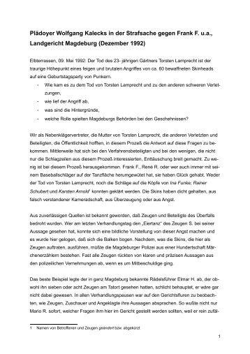 Plädoyer Kaleck - Mobile Beratung für Opfer rechter Gewalt
