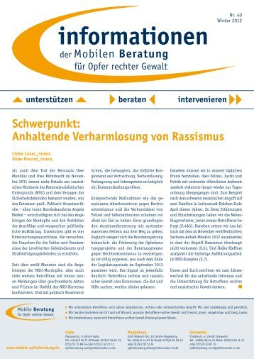 informationen Nr. 40 / Winter 2012 - Mobile Opferberatung