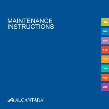 Maintenance instructions - Alcantara Spa