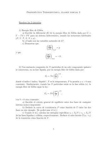 Propedéutico Termodinámica, examen parcial 3 Resolver los 2 ...
