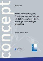 Bedre behovsanalyser; Erfaringer og ... - Concept - NTNU