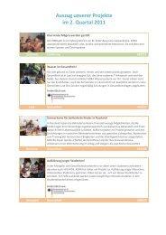 Auszug unserer Projekte im 2. Quartal 2011 - Adra