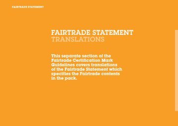 FAIRTRADE STATEMENT TRANSLATIONS - Max Havelaar