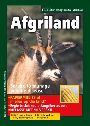 Service to manage wildlife disease - AFGRI
