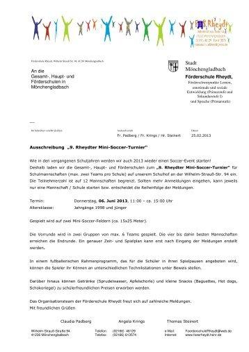Ausschreibung Mini-Soccer-Turnier der Förderschule Rheydt - Stadt ...