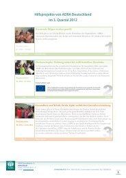 Hilfsprojekte von ADRA Deutschland im 3. Quartal 2012