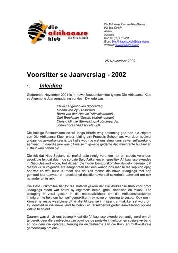 Voorsitter se Jaarverslag - 2002 - Afrikaanse Klub