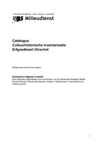 Catalogus Cultuurhistorische Inventarisatie Erfgoedkaart Oirschot