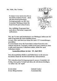 Anmeldeschluss ist der 15. Juli 2011 - Gemeinde Möttingen