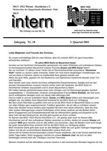 Heft 3 / 2001 - MGV 1922 Worms-Hochheim e. V.