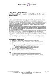 JOB – Coaching – begleitendes Einzel - Mohr Friends Coaching