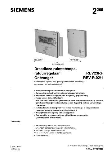 2265 Draadloze ruimtetempe- ratuurregelaar REV23RF ... - Siemens