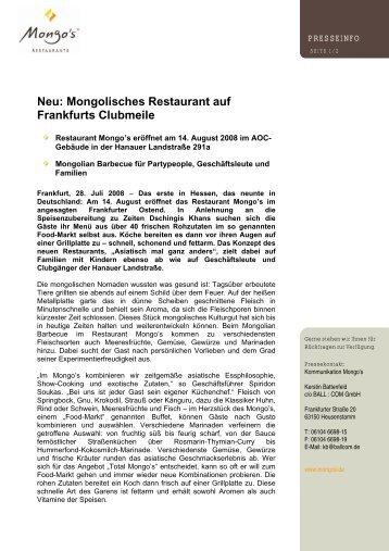 Pressemitteilung für Frankfurt - Mongo's Restaurant