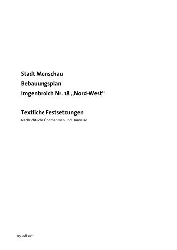 """Stadt Monschau Bebauungsplan Imgenbroich Nr. 18 """"Nord-West ..."""